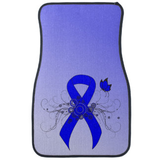 Blue Ribbon with Butterfly Car Mat