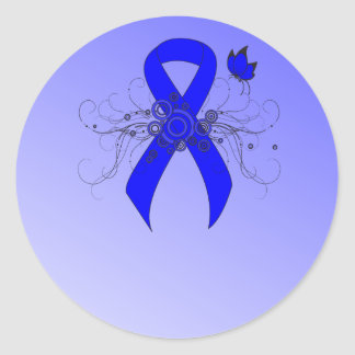 Blue Ribbon with Butterfly Classic Round Sticker