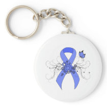 Blue Ribbon with Butterfly Keychain