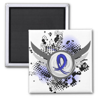 Blue Ribbon With Wings Ankylosing Spondylitis 2 Inch Square Magnet