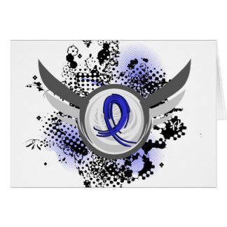 Blue Ribbon With Wings Ankylosing Spondylitis Card