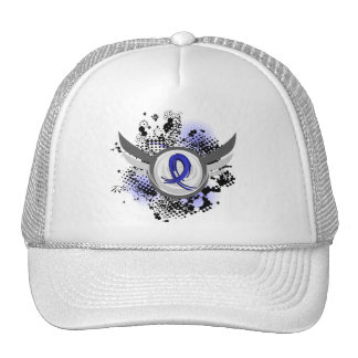 Blue Ribbon With Wings Ankylosing Spondylitis Hats