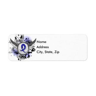 Blue Ribbon With Wings Ankylosing Spondylitis Custom Return Address Label