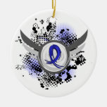 Blue Ribbon With Wings Ankylosing Spondylitis Christmas Ornament