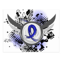Blue Ribbon With Wings Ankylosing Spondylitis Postcard