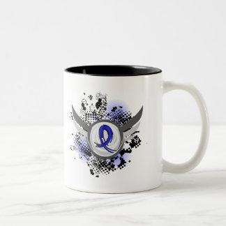 Blue Ribbon With Wings Arthritis Two-Tone Coffee Mug
