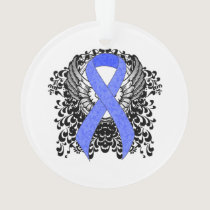 Blue Ribbon with Wings Ornament