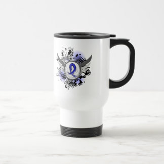 Blue Ribbon With Wings Rectal Cancer Coffee Mugs