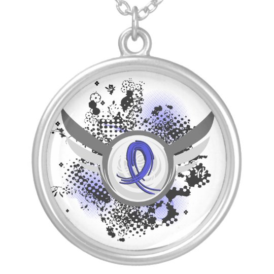 Blue Ribbon With Wings Syringomyelia Silver Plated Necklace