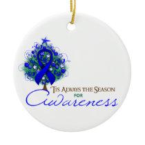 Blue Ribbon Xmas Awareness Season Ceramic Ornament