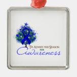 Blue Ribbon Xmas Awareness Season Ornaments
