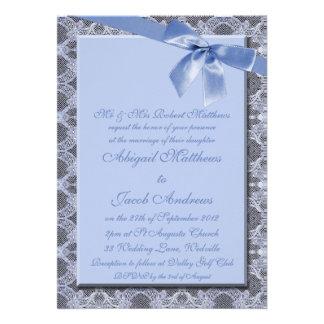 Blue Ribbon y cordón - invitación del boda