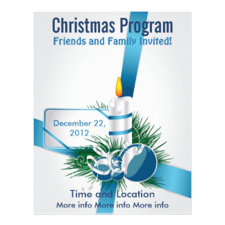 Blue Ribbons and Candle Christmas Program Flyer