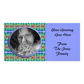 blue ribbons frame custom photo card