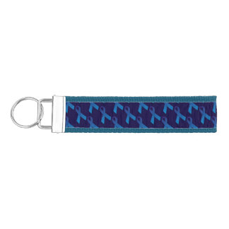 Blue Ribbons Tiled Pattern Wrist Keychain