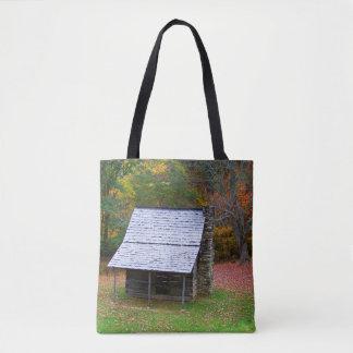 Blue Ridge Cabin all over print tote bag.