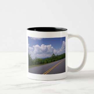 Blue Ridge Motorcycle Mountains Road and Trees Mugs