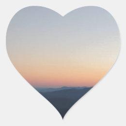 Blue Ridge Mountains Sunset Heart Sticker