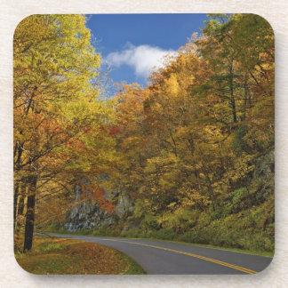Blue Ridge Parkway curving through autumn colors Drink Coaster