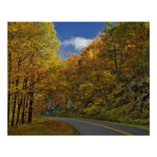 Blue Ridge Parkway curving through autumn colors Poster