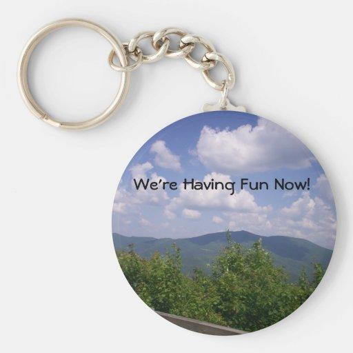 Blue Ridge Parkway Mountain View Basic Round Button Keychain