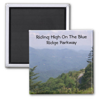 Blue Ridge Parkway Road with Mountains 2 Inch Square Magnet