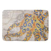 Blue Ring Octopus Map Bathroom Mat