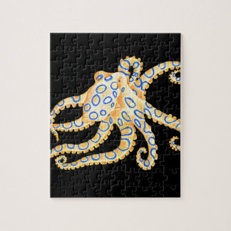 Blue Ring Octopus on Black Jigsaw Puzzle