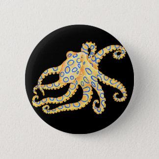 Blue Ring Octopus on Black Pinback Button