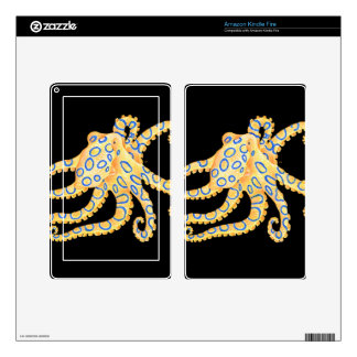 Blue Ring Octopus on Black Skin For Kindle Fire