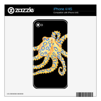 Blue Ring Octopus on Black Skins For iPhone 4S