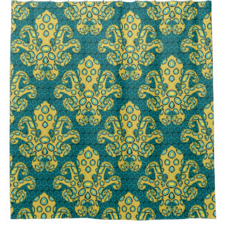 Blue Ringed Octopus Damask Shower Curtain