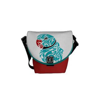 Blue ringneck parrot tattoo messenger bag