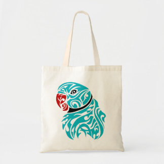 Blue ringneck parrot tattoo tote bag