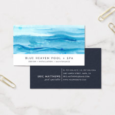 Blue Ripple | Pool Care Or Swim Business Card at Zazzle