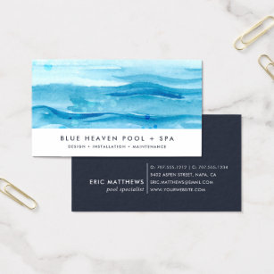 Swimming pool business cards templates zazzle blue ripple pool care or swim business card colourmoves