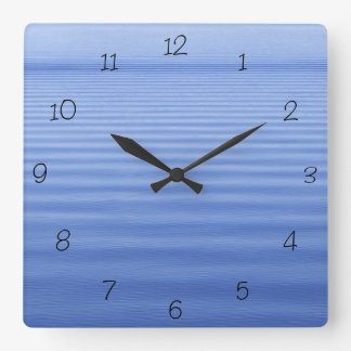 Blue Rippled Water Square Wall Clock