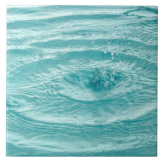 Blue ripples water drops Tile