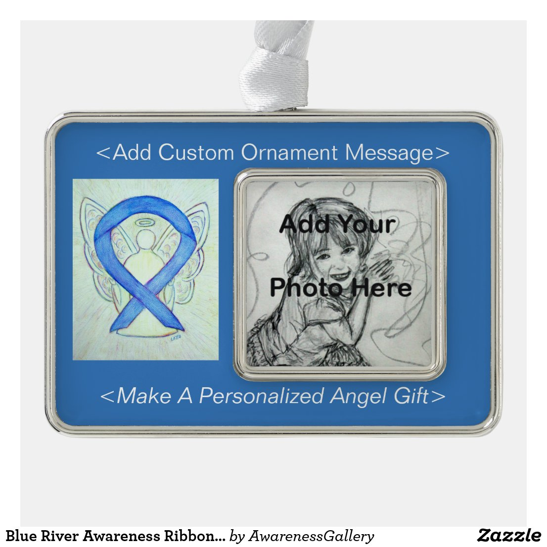 Blue River Awareness Ribbon Angel Ornament