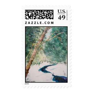 Blue River in Snow Postage