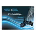 Blue road biker wedding invitation custom invites