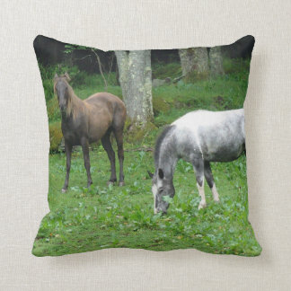 Blue Roan and Chesnut Horses in Woods Pillow Pillows