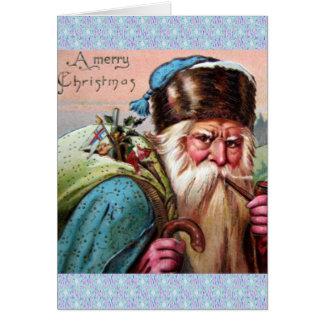 Blue Robe Santa Claus Smoking Pipe - Christmas Greeting Cards
