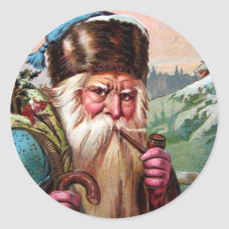 Blue Robe Santa Claus Smoking Pipe - Christmas Classic Round Sticker