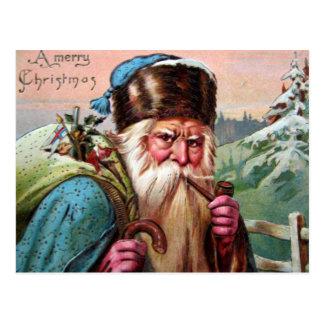 Blue Robe Santa Claus Smoking Pipe - Christmas Postcard