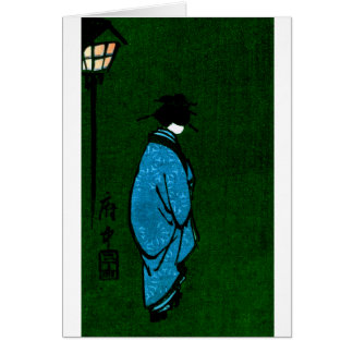 Blue Robed Geisha Girl Card