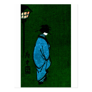 Blue Robed Geisha Girl Postcard