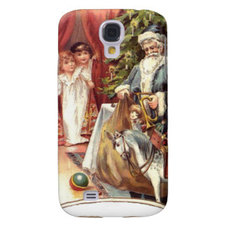 Blue robed santa and a Christmas tree Samsung Galaxy S4 Cover