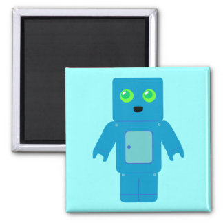 Blue Robot 2 Inch Square Magnet