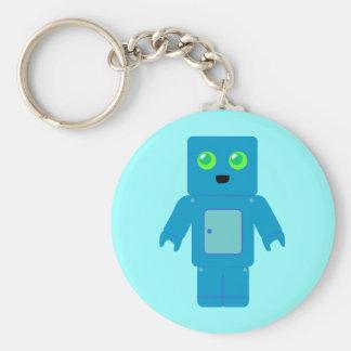 Blue Robot Basic Round Button Keychain